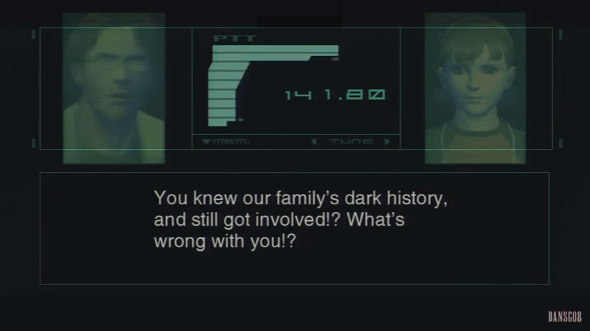 """Screenshot of Otacon saying to E.E.: """"You knew our family's dark history and still got involved?! What's wrong with you?!"""""""