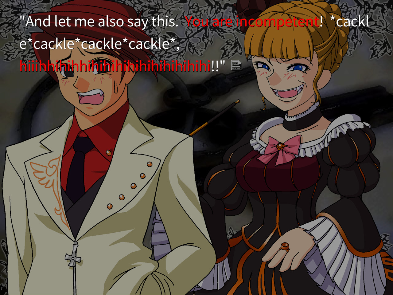 Beatrice and Battler in a screenshot from Umineko no Naku Koro Ni where she's telling him in the red truth that he is incompetent.